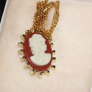 Small Red Cameo Necklace